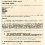 Asbestos Licence - Valid from 29 May 2014